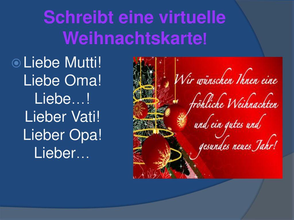 Virtuelle Weihnachtskarten.Klassenfest Deutsche Weihnachtstraditionen Ppt Herunterladen
