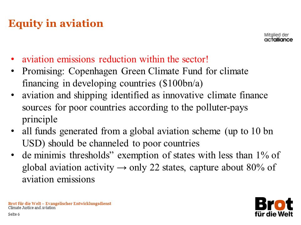 Equity in aviation aviation emissions reduction within the sector!
