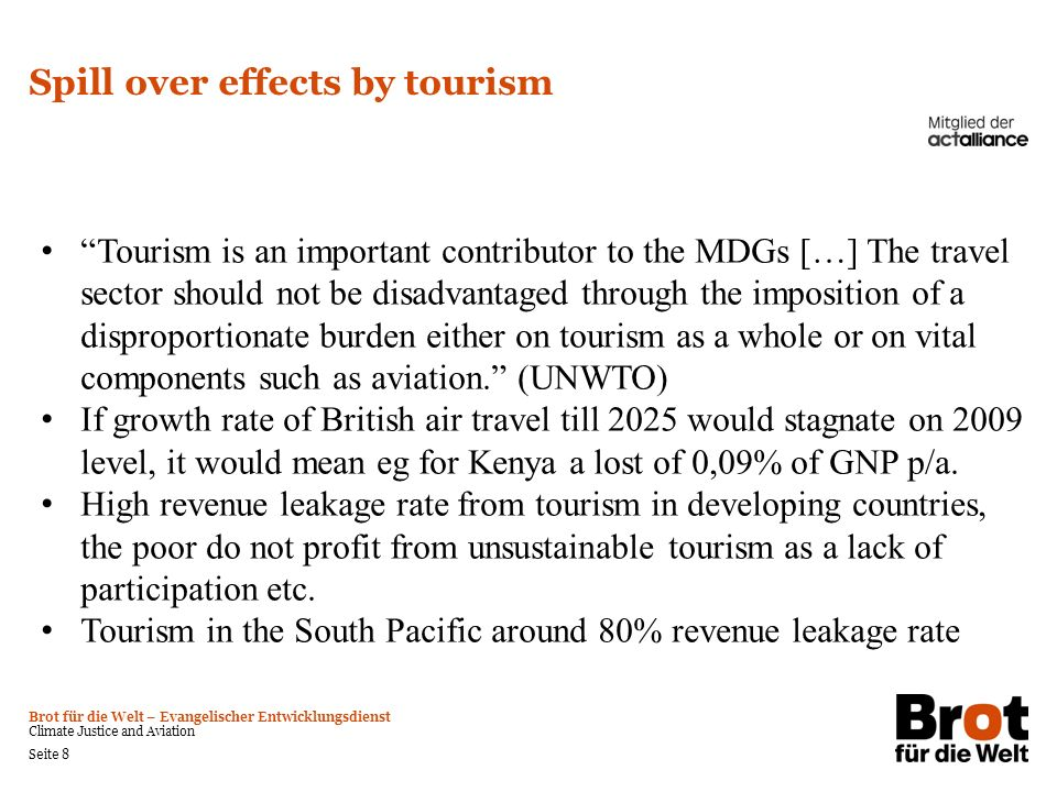 Spill over effects by tourism