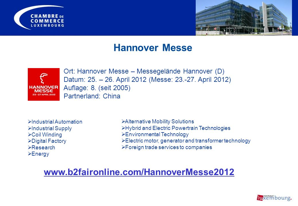 Hannover Messe www.b2faironline.com/HannoverMesse2012
