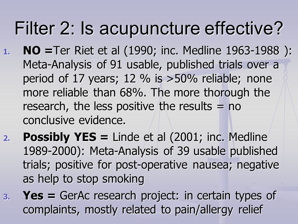 Filter 2: Is acupuncture effective