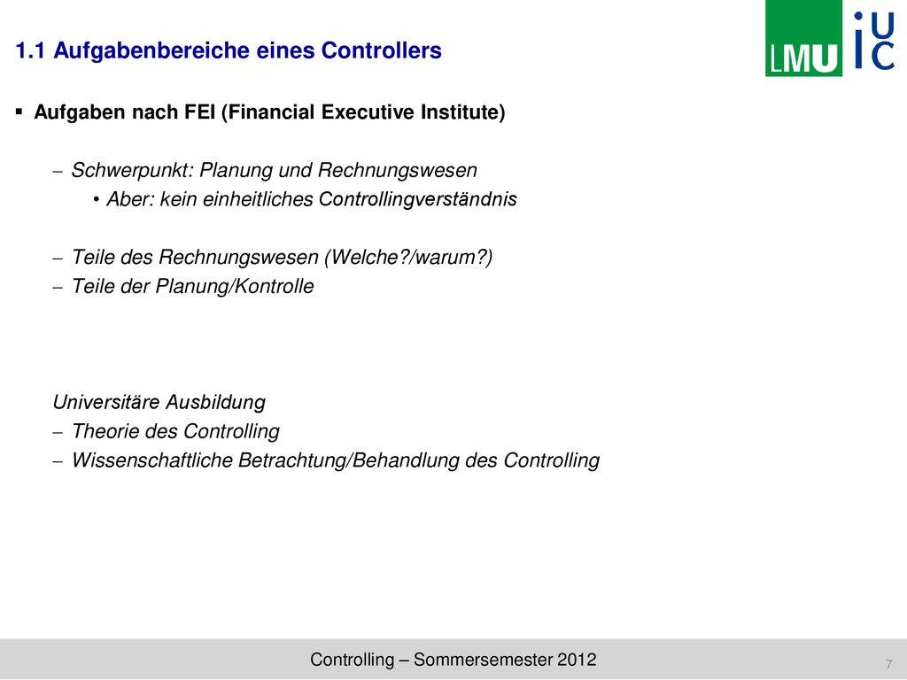 Controlling Sommersemester 2012 Prof Dr Christian Hofmann Ppt