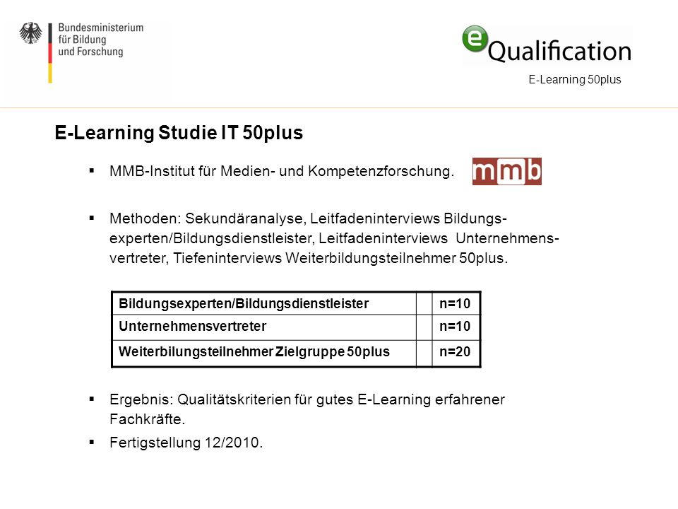 E-Learning Studie IT 50plus