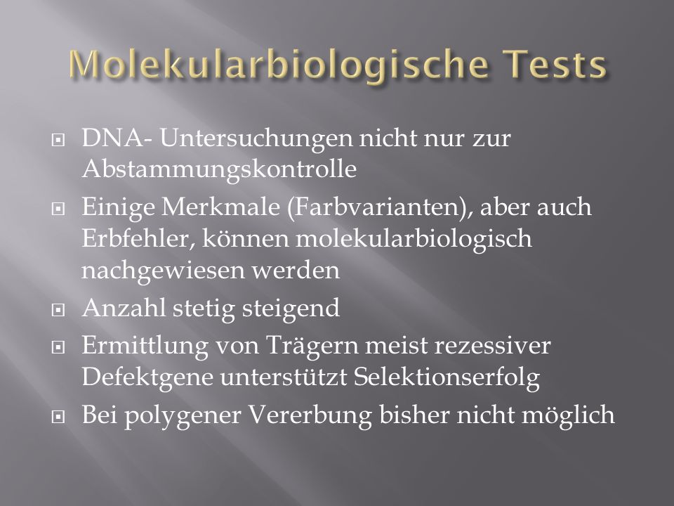 Molekularbiologische Tests
