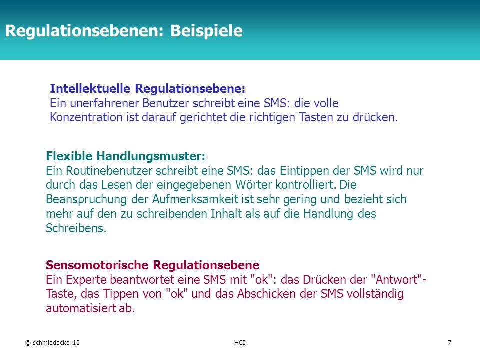 Regulationsebenen: Beispiele