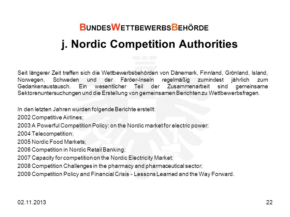 j. Nordic Competition Authorities