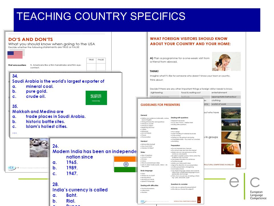 TEACHING COUNTRY SPECIFICS