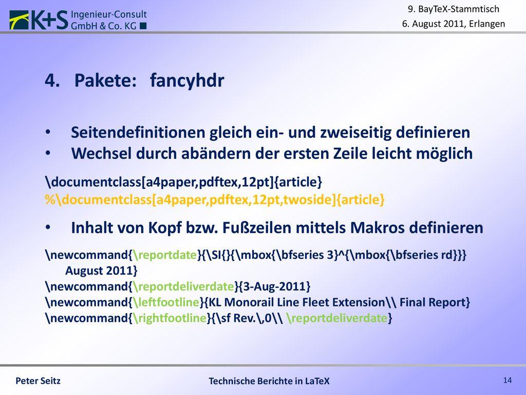 Technische Berichte mit LaTeX schreiben - ppt herunterladen