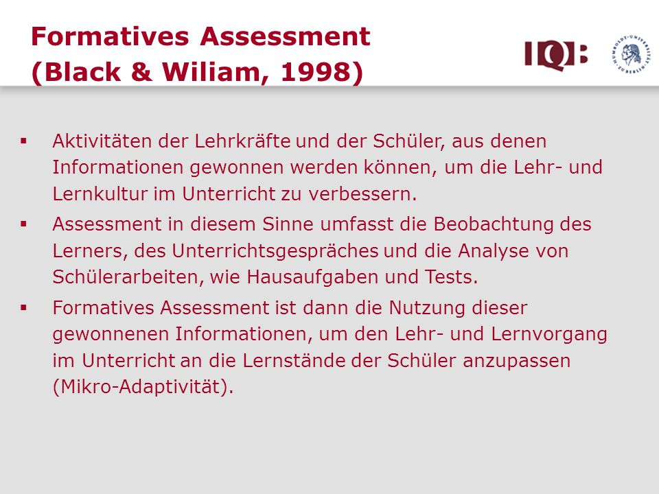 Formatives Assessment (Black & Wiliam, 1998)