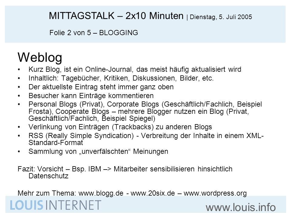 Weblog Folie 2 von 5 – BLOGGING