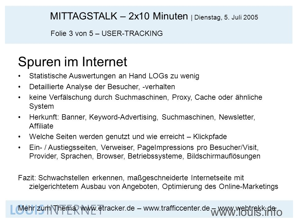 Spuren im Internet Folie 3 von 5 – USER-TRACKING