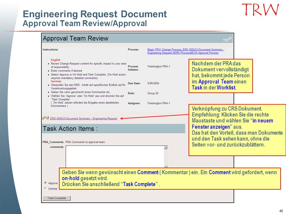 Engineering Request Document Approval Team Review/Approval