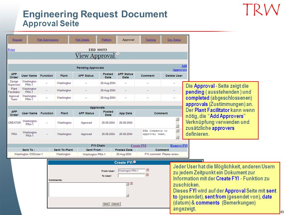 Engineering Request Document Approval Seite