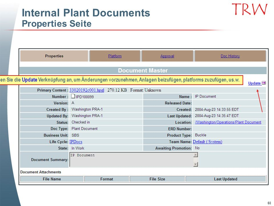 Internal Plant Documents Properties Seite