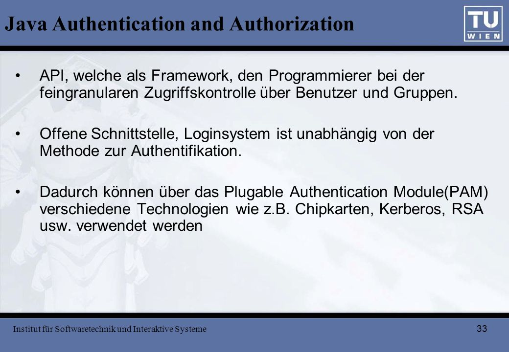 Java Authentication and Authorization