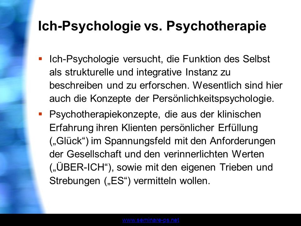 Ich-Psychologie vs. Psychotherapie