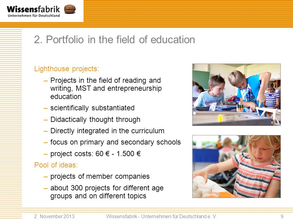 2. Portfolio in the field of education
