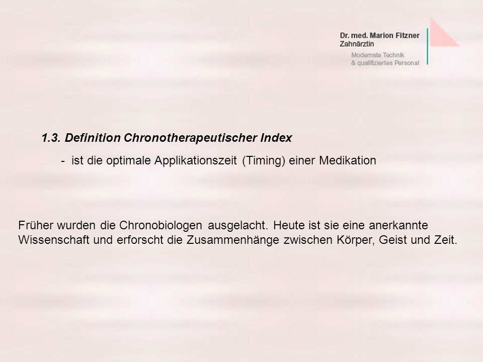 1.3. Definition Chronotherapeutischer Index