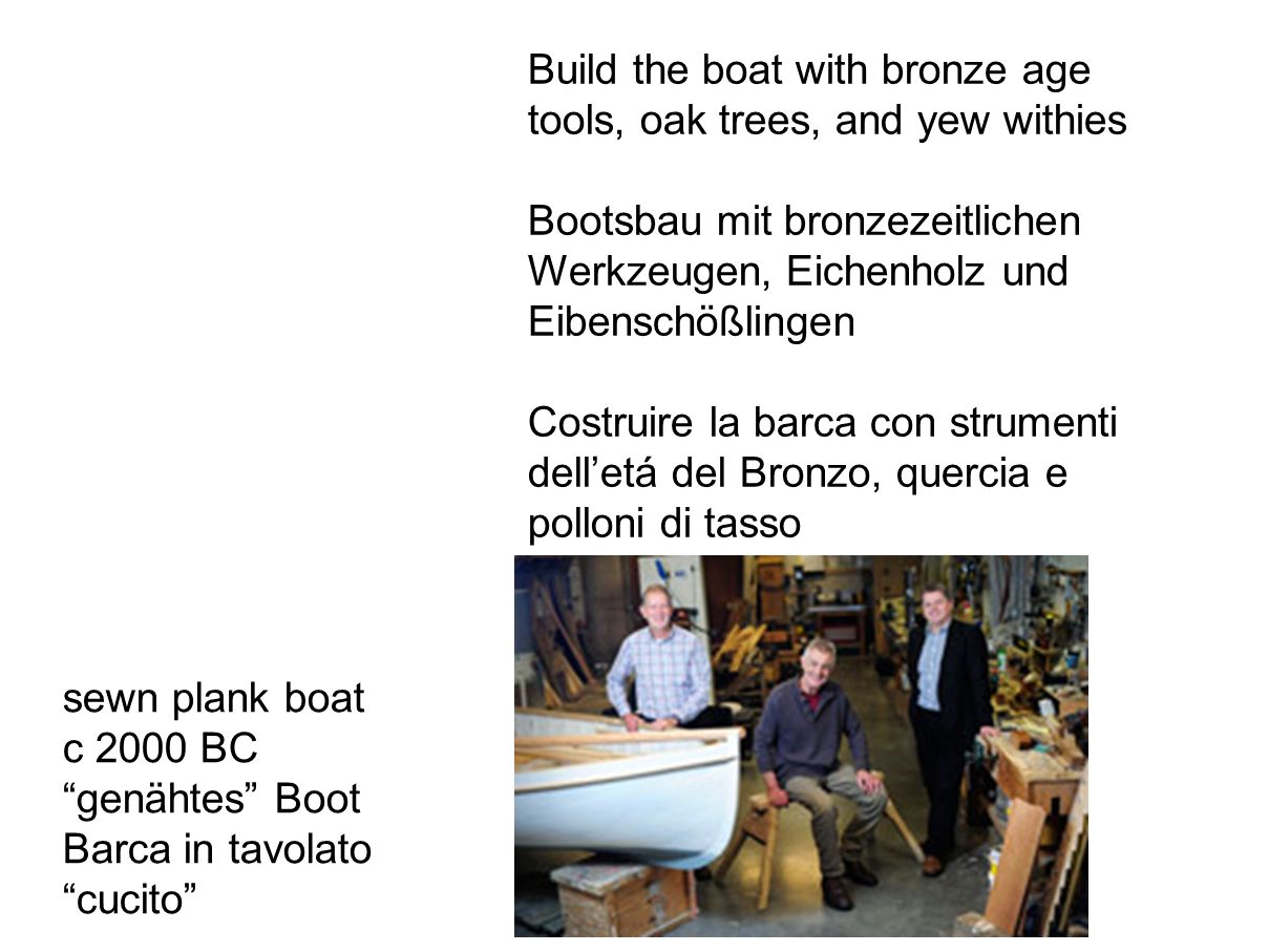 Build the boat with bronze age tools, oak trees, and yew withies