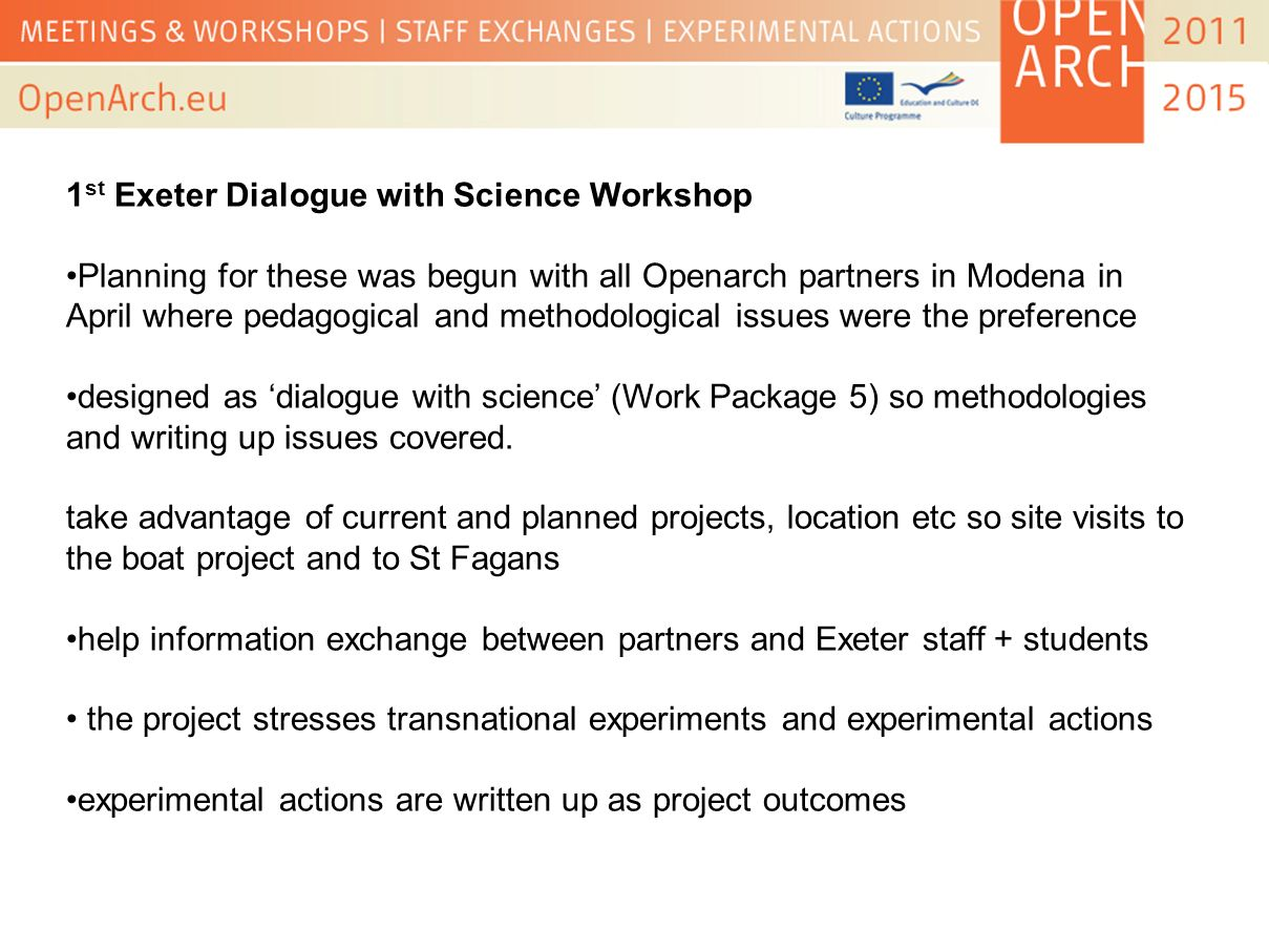1st Exeter Dialogue with Science Workshop