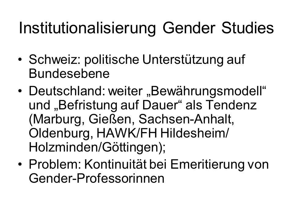 Institutionalisierung Gender Studies