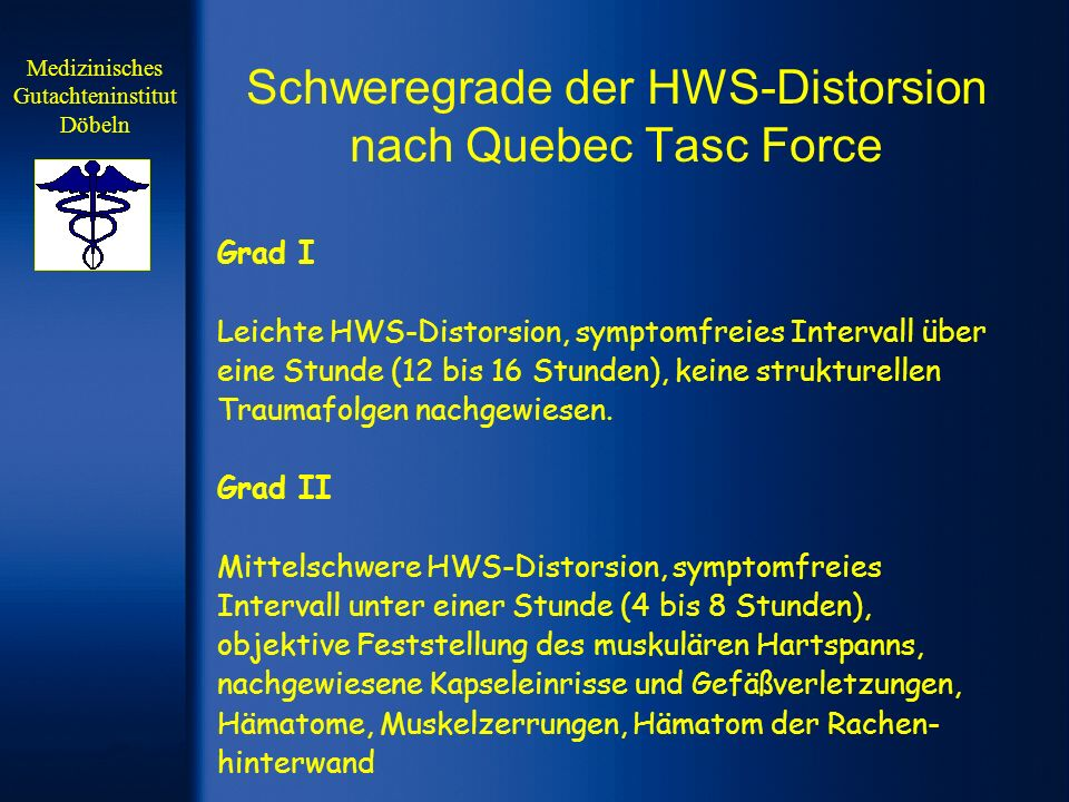 Schweregrade der HWS-Distorsion nach Quebec Tasc Force