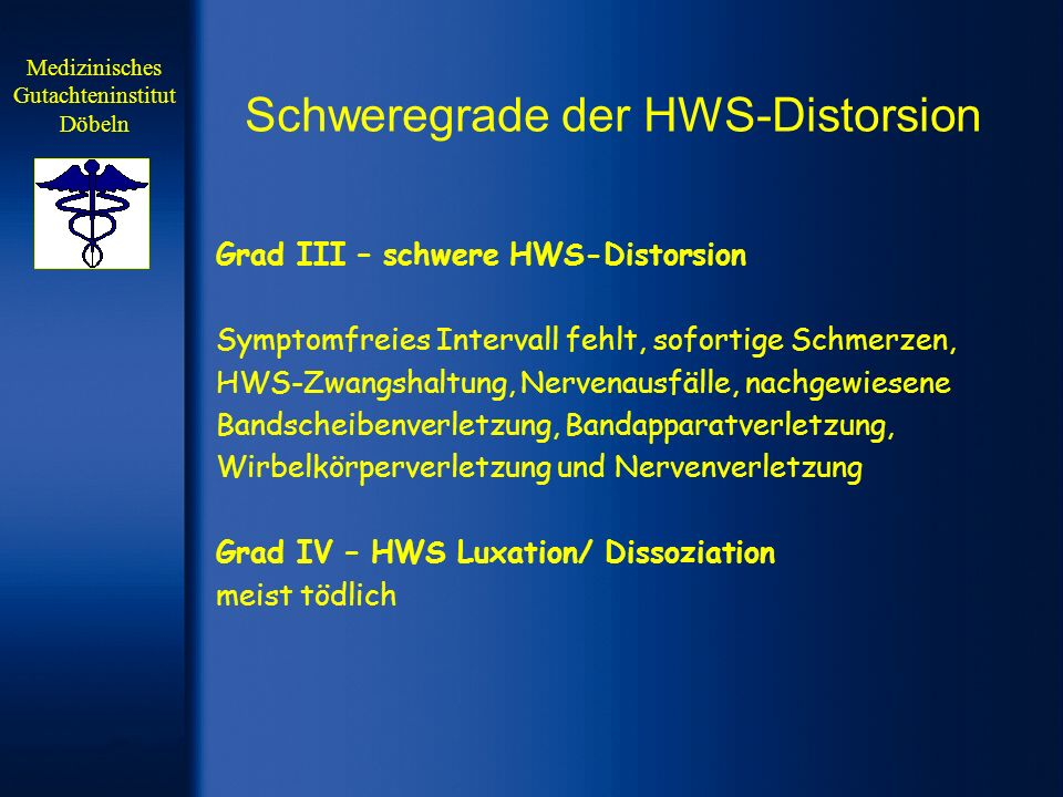 Schweregrade der HWS-Distorsion