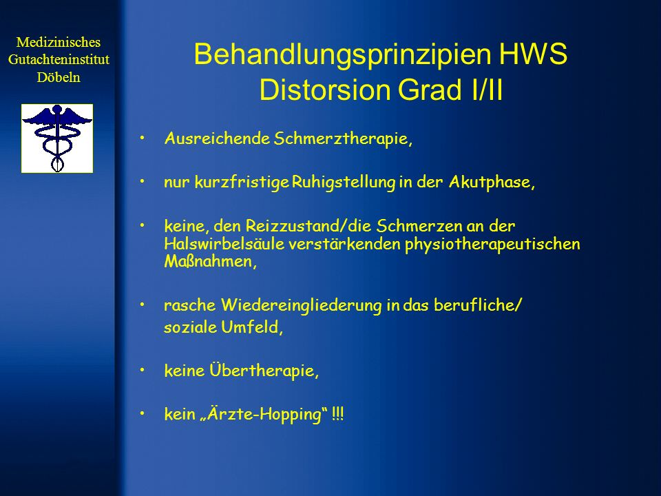 Behandlungsprinzipien HWS Distorsion Grad I/II