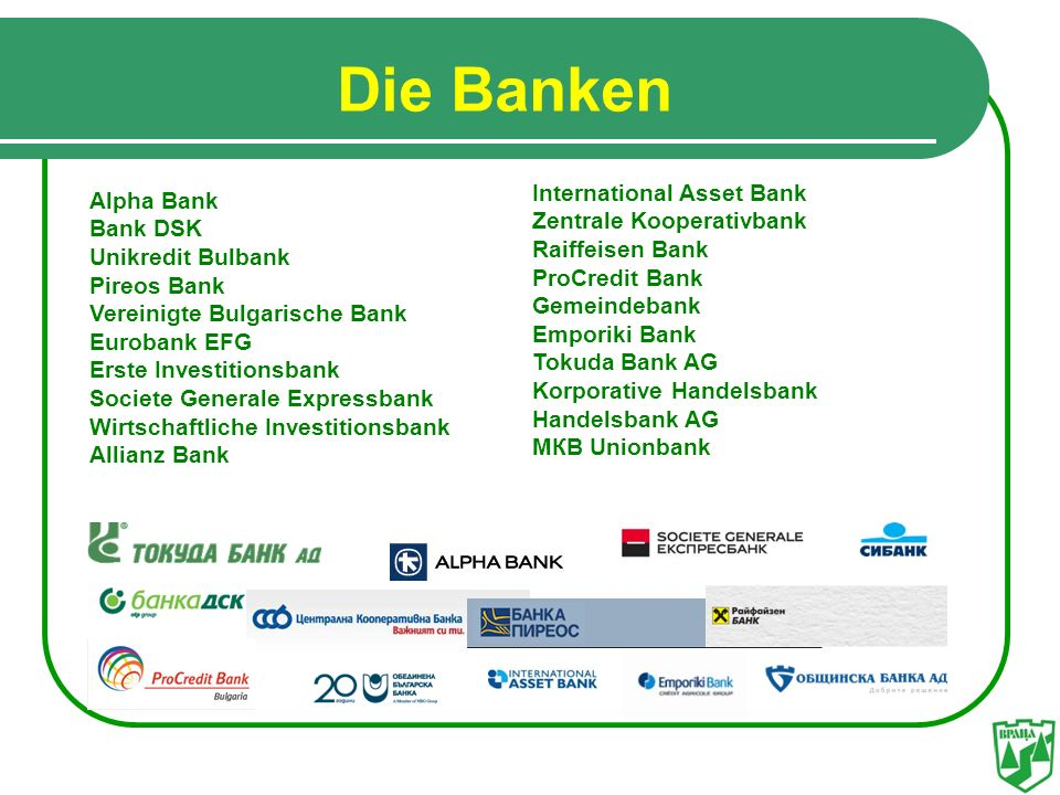 Die Banken International Asset Bank Аlpha Bank Zentrale Kooperativbank