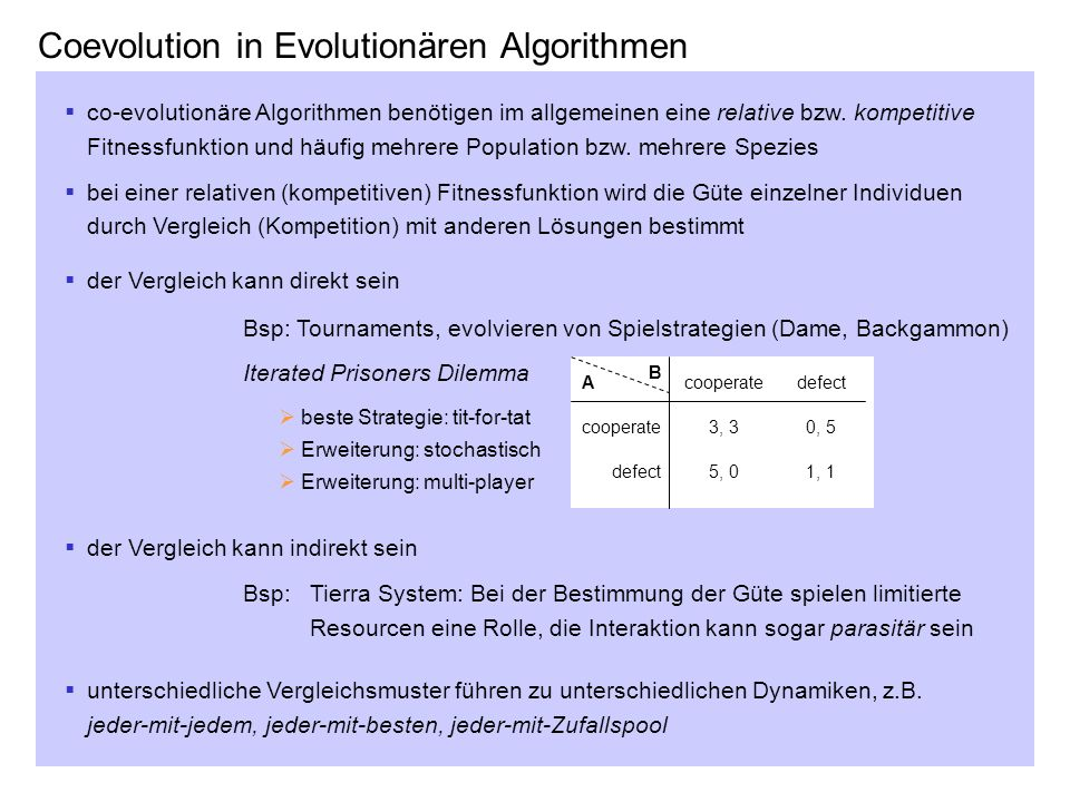Coevolution in Evolutionären Algorithmen