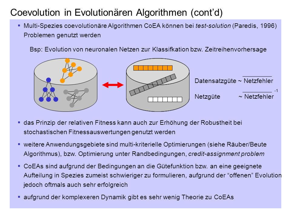 Coevolution in Evolutionären Algorithmen (cont'd)