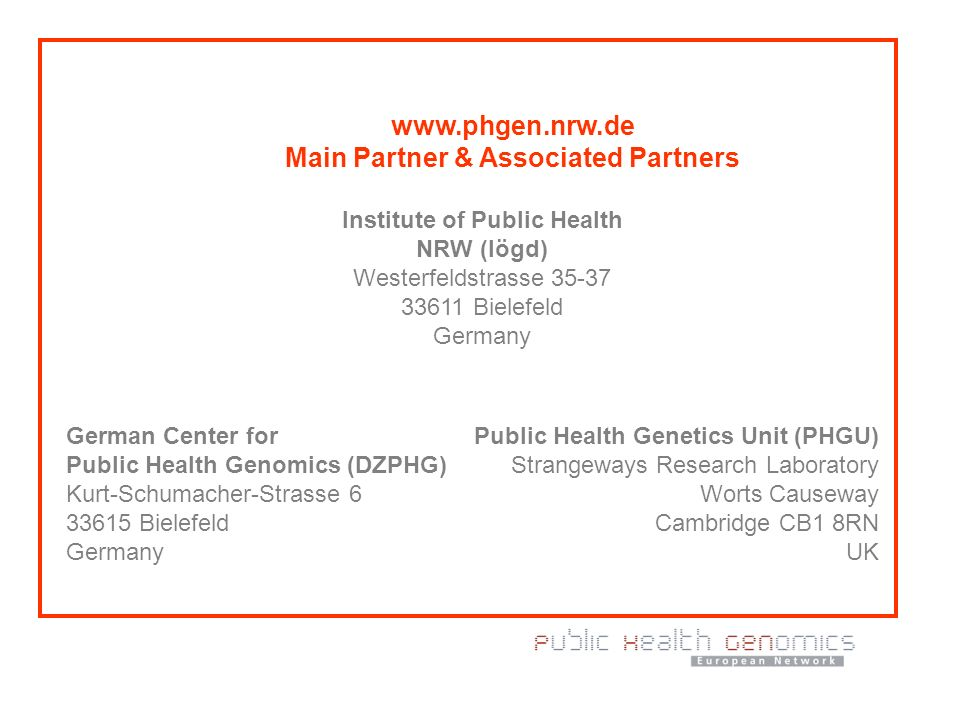 www.phgen.nrw.de Main Partner & Associated Partners