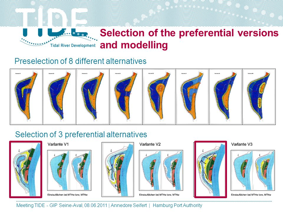 Selection of the preferential versions and modelling