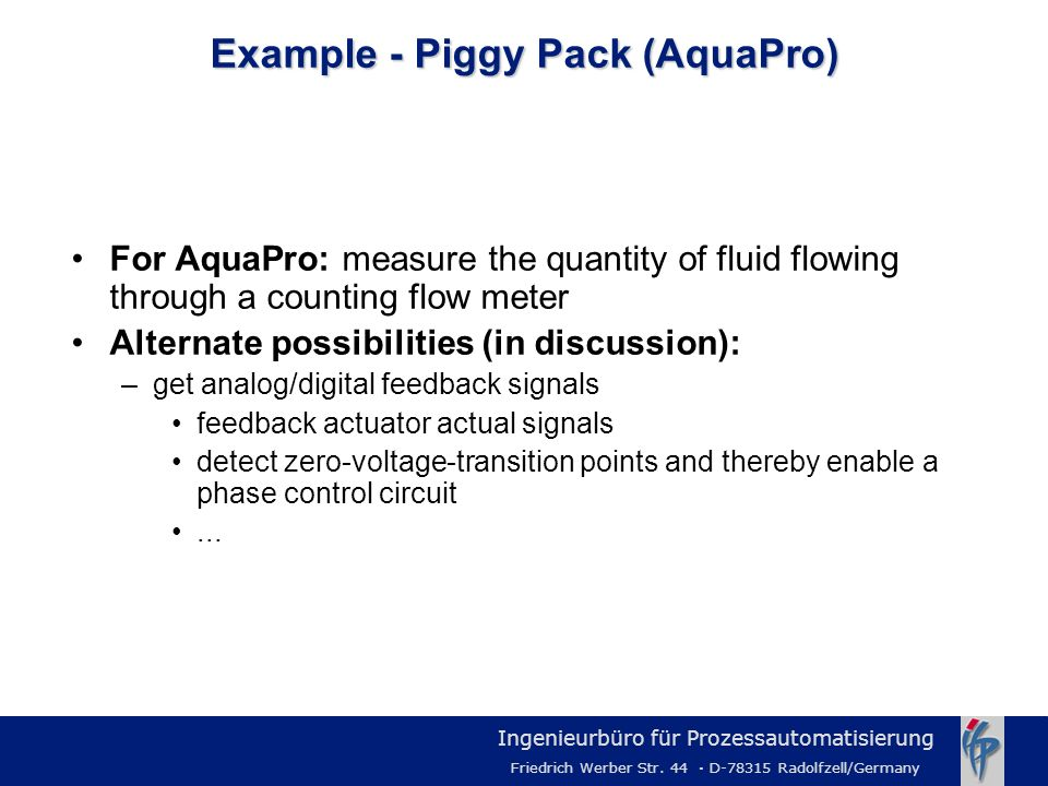 Example - Piggy Pack (AquaPro)