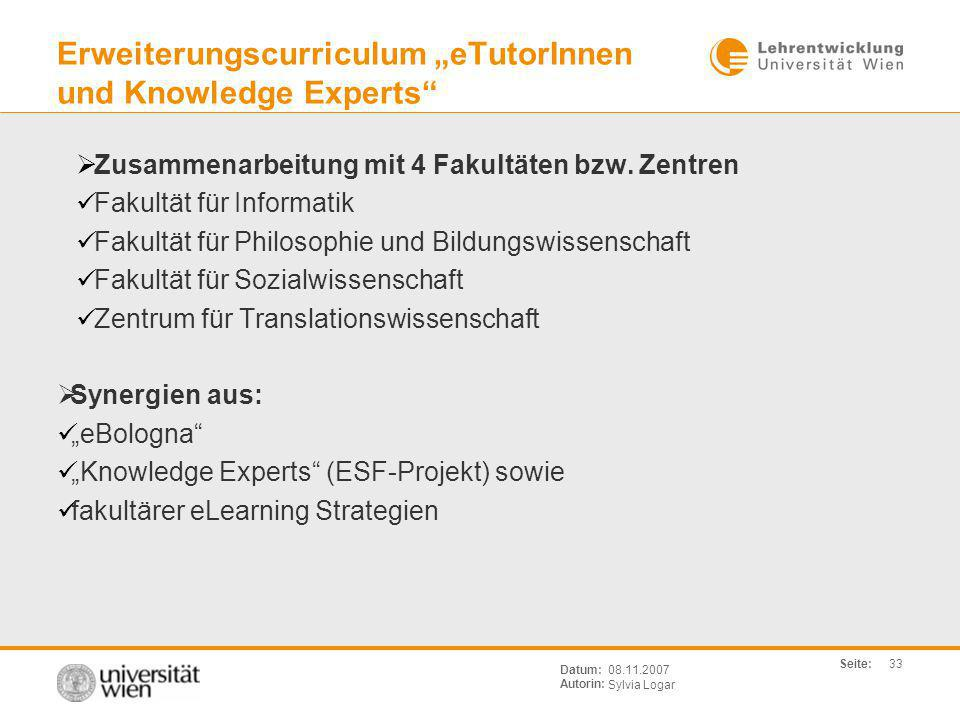 "Erweiterungscurriculum ""eTutorInnen und Knowledge Experts"
