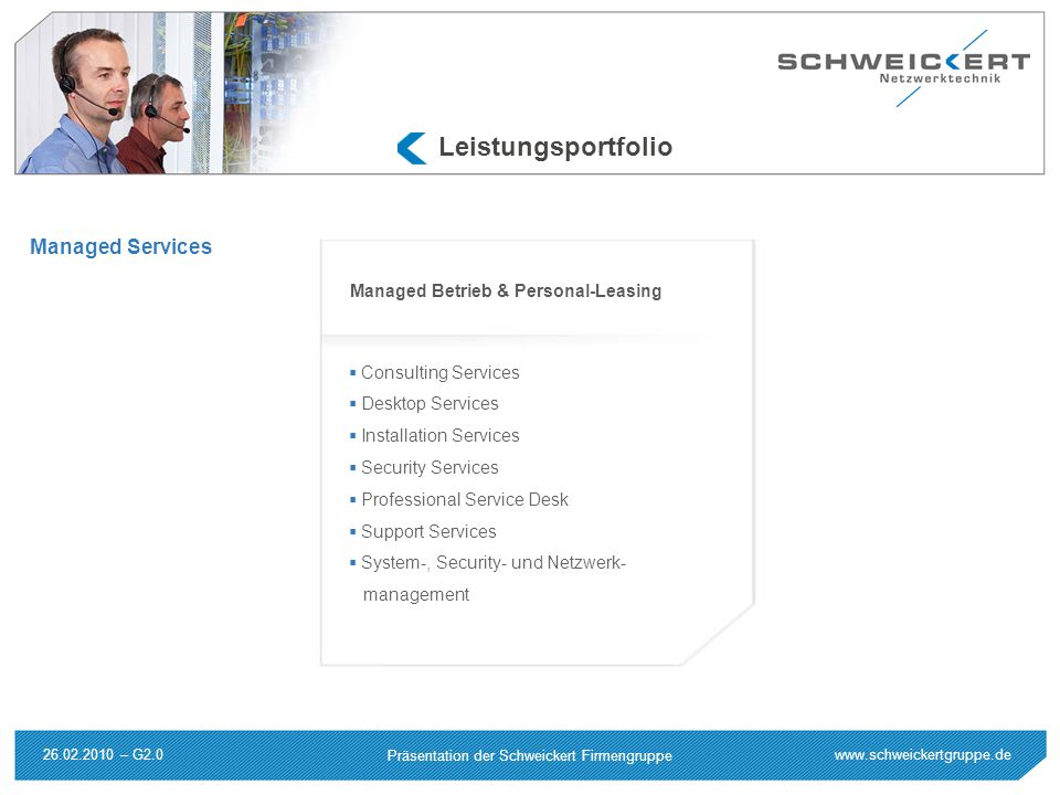 Leistungsportfolio Managed Services Managed Betrieb & Personal-Leasing