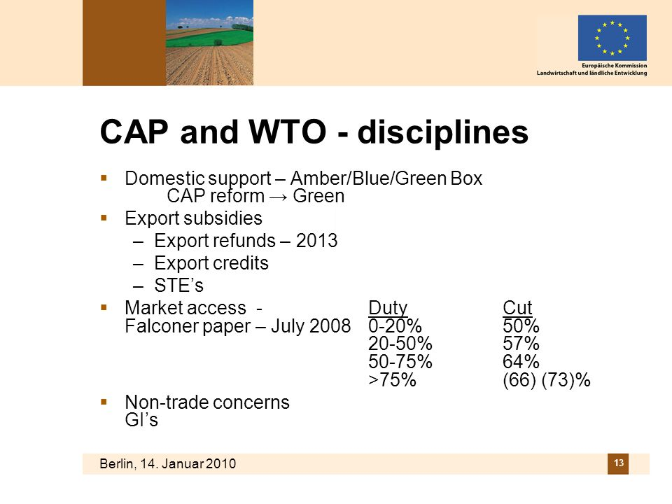 CAP and WTO - disciplines