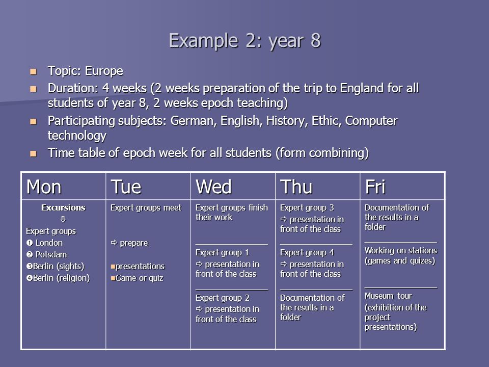 Example 2: year 8 Mon Tue Wed Thu Fri Topic: Europe