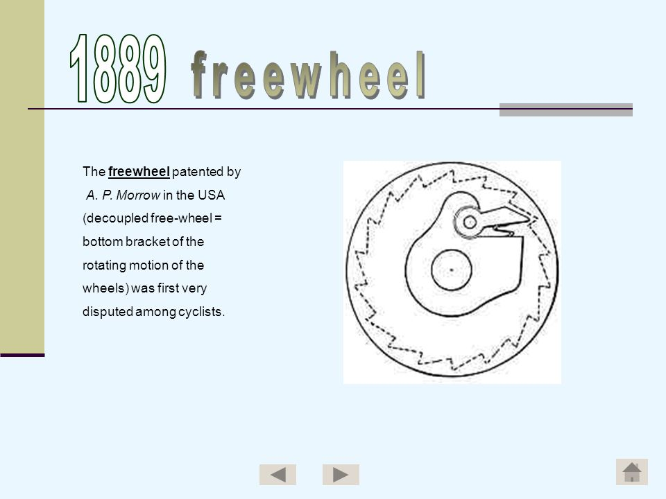1889 freewheel The freewheel patented by A. P. Morrow in the USA