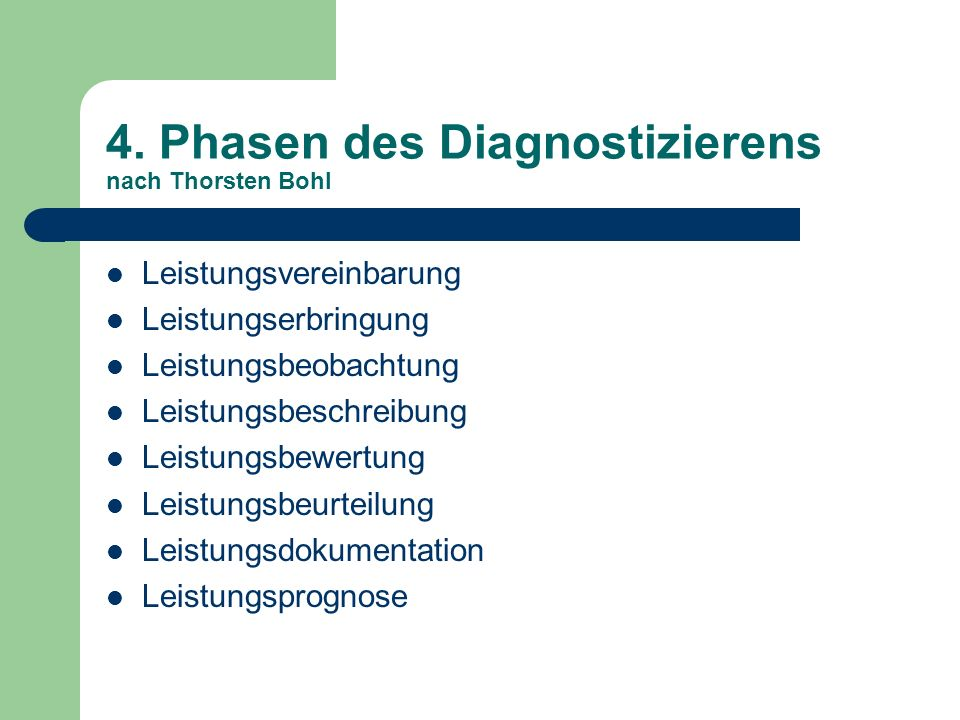 4. Phasen des Diagnostizierens nach Thorsten Bohl