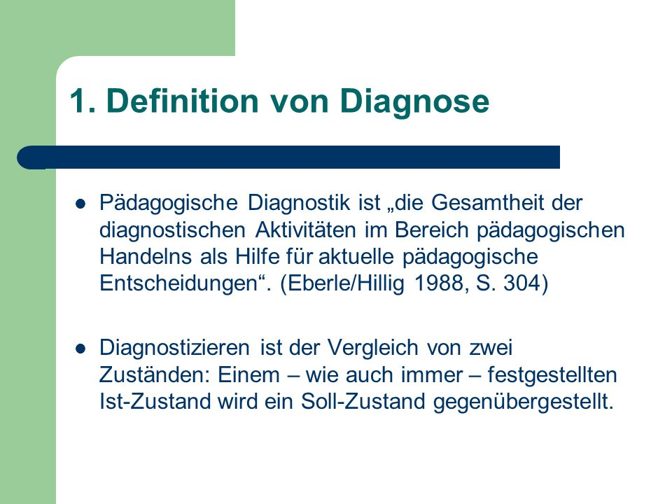 1. Definition von Diagnose