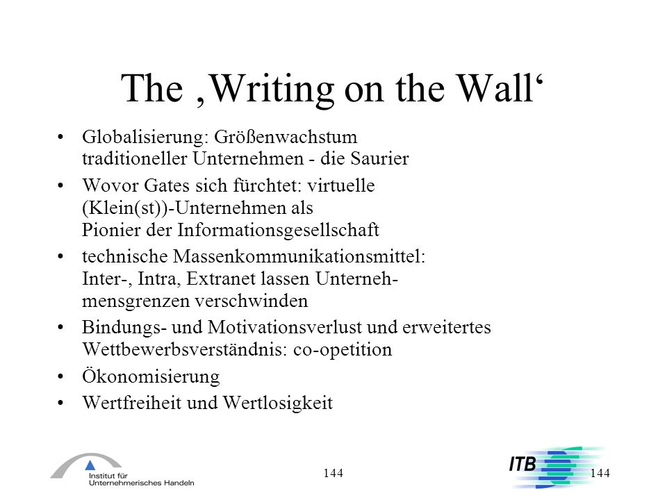 The 'Writing on the Wall'