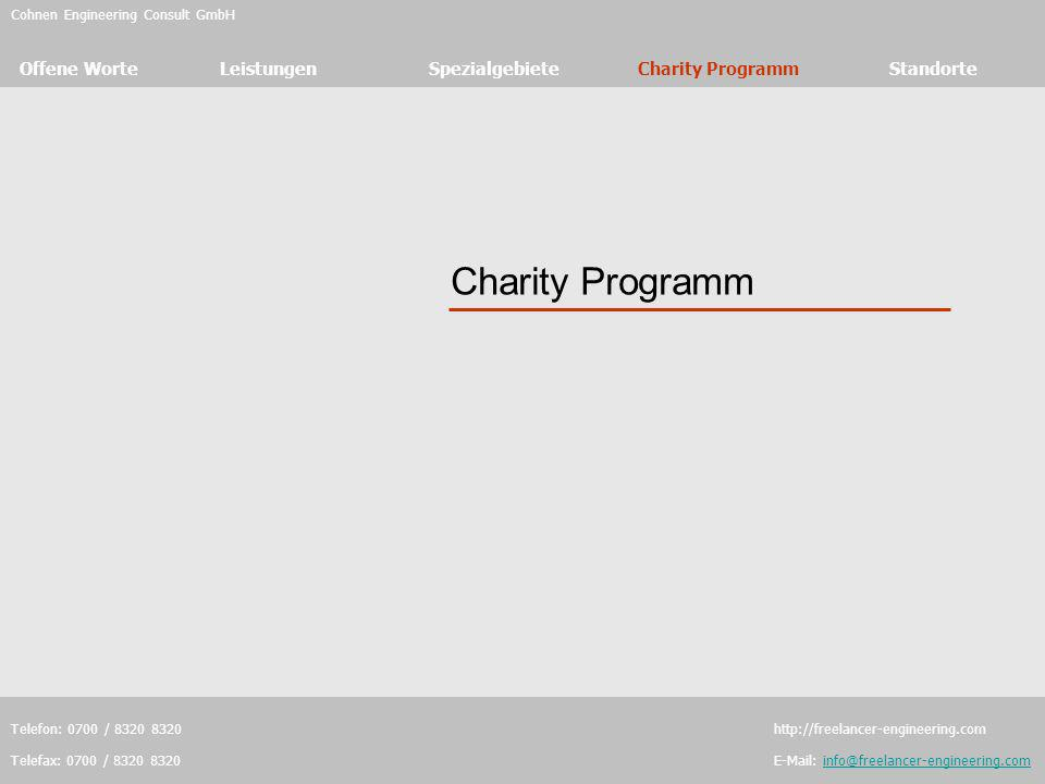 Charity Programm Cohnen Engineering Consult GmbH