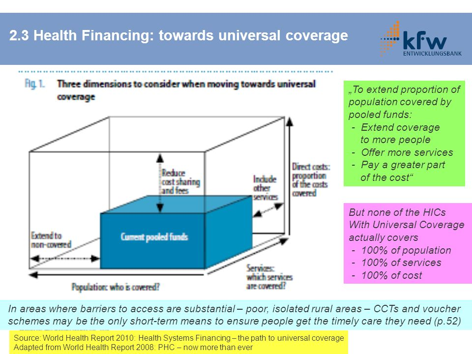 2.3 Health Financing: towards universal coverage