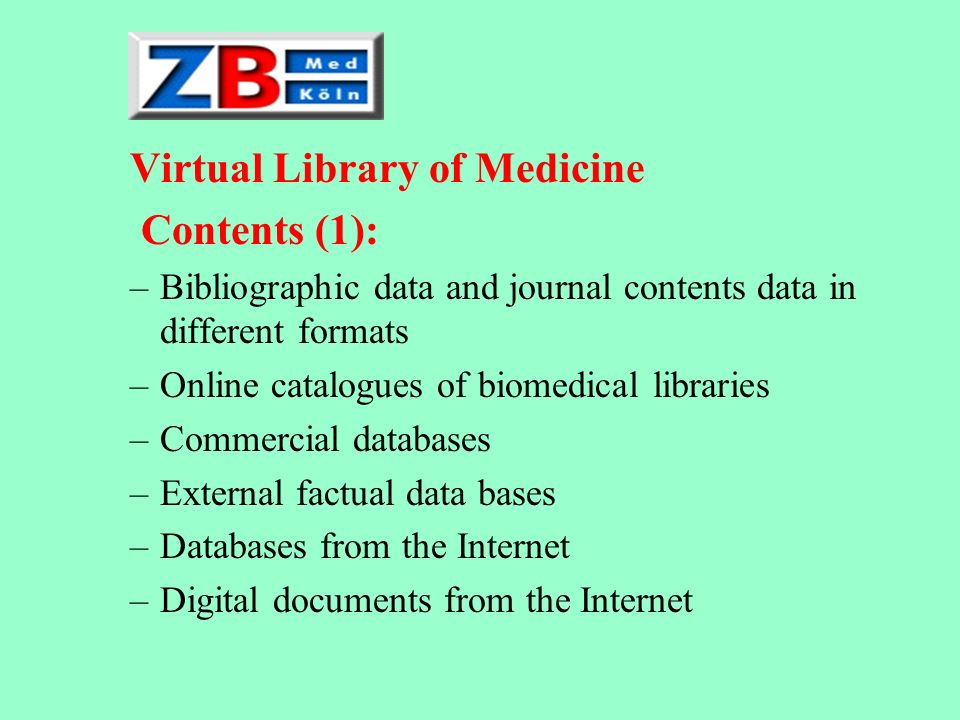 Virtual Library of Medicine Contents (1):