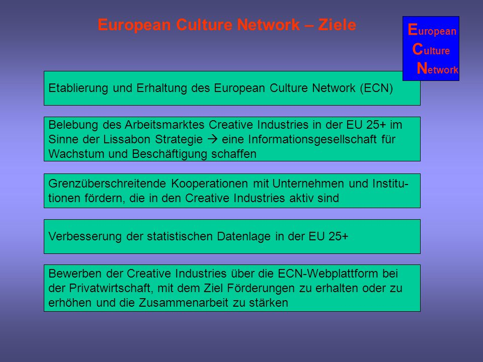 European Culture Network – Ziele European Culture Network