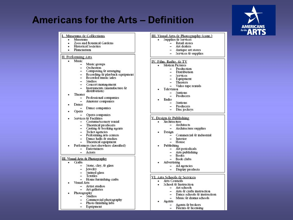 Americans for the Arts – Definition