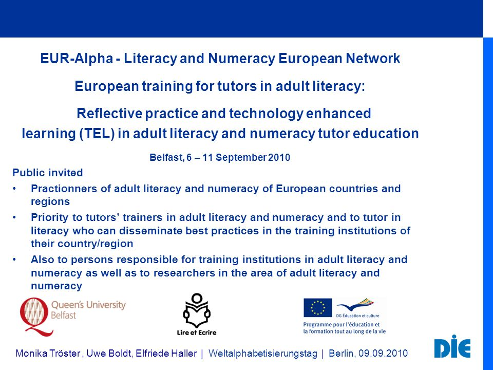 EUR-Alpha - Literacy and Numeracy European Network