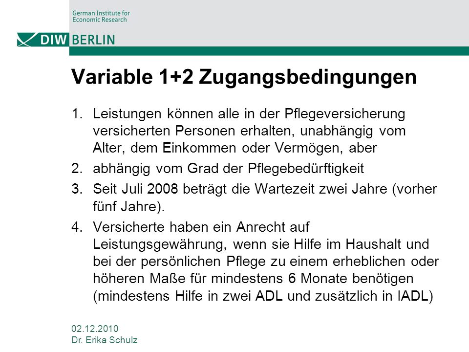 Variable 1+2 Zugangsbedingungen