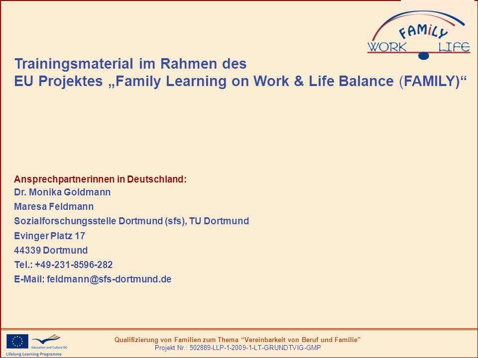 "Trainingsmaterial im Rahmen des EU Projektes ""Family Learning on Work & Life Balance (FAMILY)"
